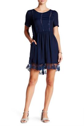 soloiste Lace Trim Short Sleeve Slip Dress $88 thestylecure.com