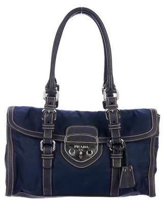 Prada Leather-Trimmed Shoulder Bag
