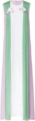 DELPOZO Embellished Chiffon-Paneled Crepe Maxi Dress