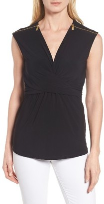 Women's Chaus Zip Shoulder Ruched Top $59 thestylecure.com