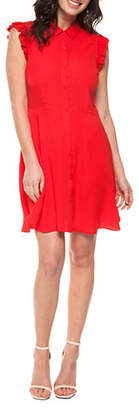 Dex Ruffle Sleeve Fit-And-Flare Dress