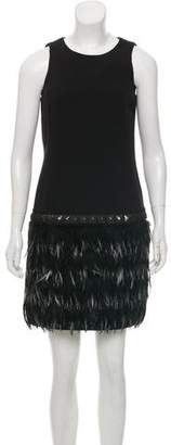 MICHAEL Michael Kors Feather-Embellished Mini Dress