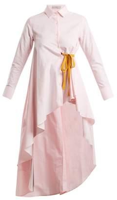 Palmer Harding Palmer//Harding Palmer//harding - Tie Waist Dip Hem Cotton Shirt - Womens - Light Pink