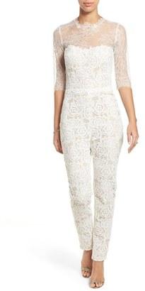 Women's Monique Lhuillier Ready To Wed Guipure Lace Jumpsuit $2,290 thestylecure.com