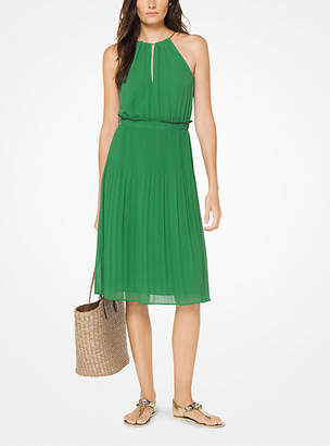 Michael Kors Georgette Pleated Halter Dress