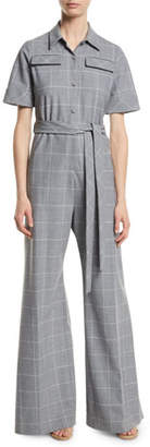 Lela Rose Short-Sleeve Belted Windowpane Check Wide-Leg Wool-Blend Jumpsuit