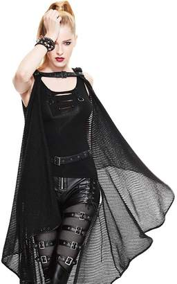 Diane von Furstenberg D&F Punk Gothic Womens Cape Shawl Fashion See through Hooded Mesh Cappa Coats