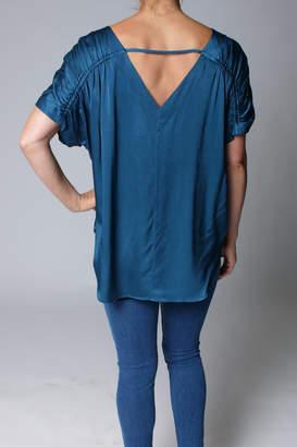 Heather Luster V-Back Shirred Top