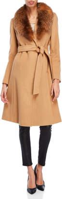 Ellen Tracy Real Fox Fur Trim Belted Coat