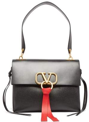Valentino V Ring Leather Shoulder Bag - Womens - Black