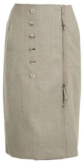 Sorrel button-embellished wool-blend pencil skirt