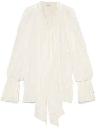 Thierry Mugler Silk-chiffon Blouse - Off-white