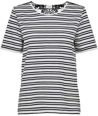 Jacqueline De Yong Crochet Back Striped T-Shirt