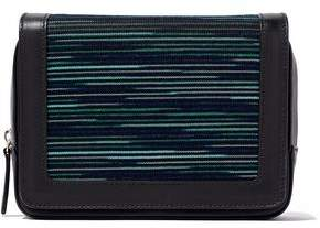 M Missoni Jacquard Knit-Paneled Leather Shoulder Bag