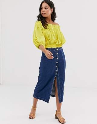 07d8efbee Free People jasmine buttoned midi skirt