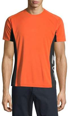 Emporio Armani Men's EA7 Ventus Logo-Trim Wicking T-Shirt, Orange