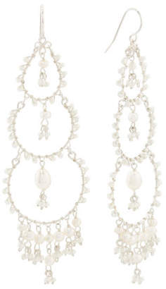 Made In Brazil Sterling Silver Pearl And Seed Bead Earrings
