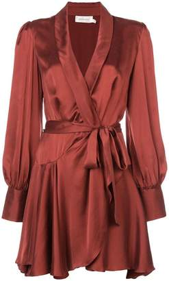 Zimmermann satin wrap mini dress