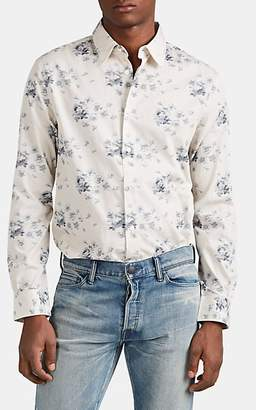 John Varvatos Men's Floral Cotton Jacquard Shirt - Blue