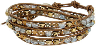 Chan Luu Silver & Leather Gemstone Wrap Bracelet