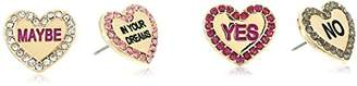 Betsey Johnson Women's Gold Candy Heart Stud Earrings Set