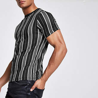 River Island Black vertical stripe T-shirt