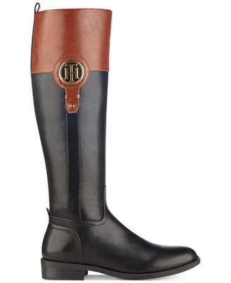 Tommy Hilfiger Womens Ilia-2 Almond Toe Knee High Fashion Black Size 10.0