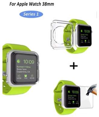 clear iclover Apple Watch [38mm Series 1] HD Anti-Scratch Tempered Glass Screen Protector + Soft Slim Lightweight TPU Full Body Protective Case Bumper Cover for iWatch Series 1,iClover