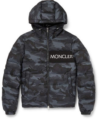 Moncler Aiton Camouflage-Print Quilted Shell Hooded Down Jacket