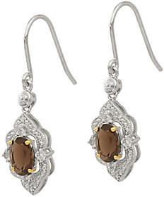 QVC Sterling & 14K Gemstone & Diamond Dangle Earrings