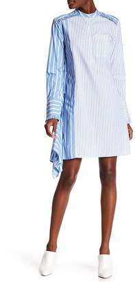Derek Lam 10 Crosby Denim Asymmetrical Ruffle Stripe Print Shirt Dress