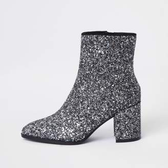 River Island Silver glitter block heel ankle boots