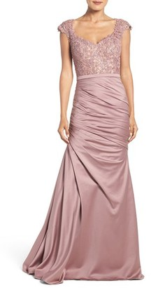 La Femme Embellished Lace & Satin Mermaid Gown $648 thestylecure.com