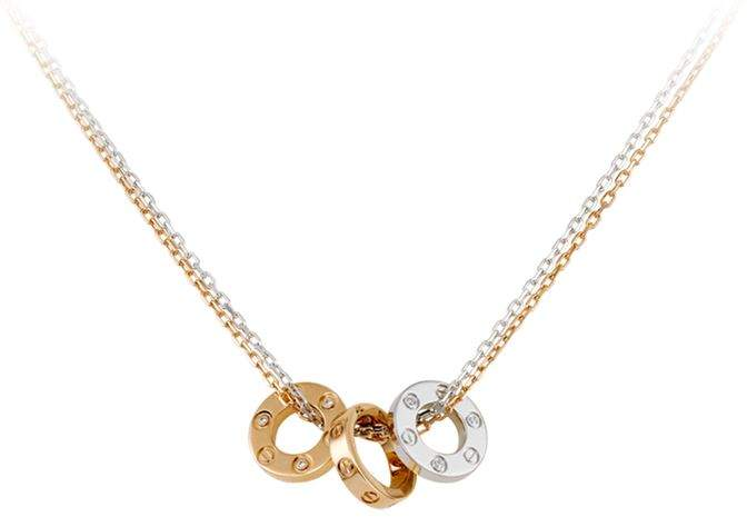 White and Pink Gold Love Double Chain Necklace
