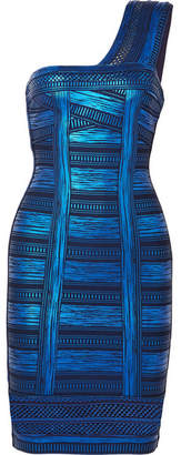Herve Leger One-shoulder Metallic Printed Stretch-knit Mini Dress - Blue
