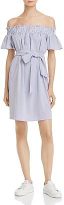 AQUA Striped Off-the-Shoulder Dress - 100% Exclusive $68 thestylecure.com