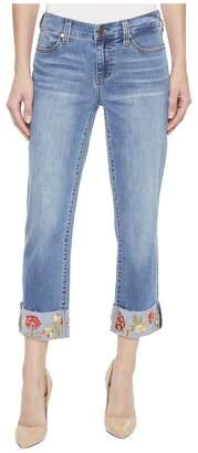 Liverpool Josie Embroidered Wide Cuff Capris in Vintage Super Comfort Stretch Denim in Bridgeport Women's Jeans