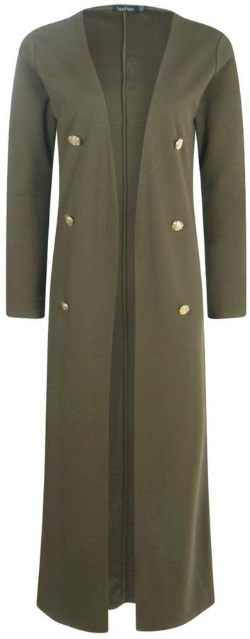 boohoo Eva Button Front Longline Duster Jacket