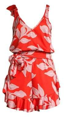 The Endless Summer PatBO PatBO Women's Leaf-Print Tie-Waist Romper - Hot Pink - Size Large