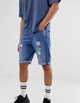 ONLY & SONS abrasion detail denim shorts in mid blue