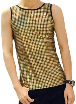 d797dd142862d GRMO-Men Sequin Summer Sleeveless Fashion Slim Tank Top Vest T-Shirt US S