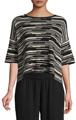 Eileen Fisher Crisp Abstract Striped Knit Top