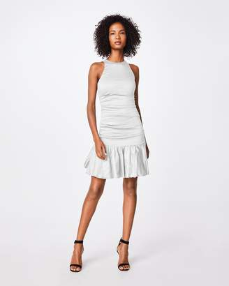 Nicole Miller Solid Cotton Metal Ruffle Hem Dress