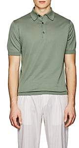 John Smedley Men's Knit Cotton Polo Shirt-Green