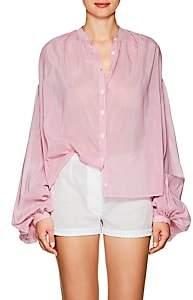 Thierry Colson Women's Slava Striped Cotton-Silk Blouse-Pink Pinstripe