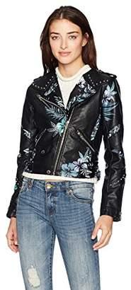 Blank NYC [BLANKNYC] Women's Floral Printed Vegan Leather Moto Jacket