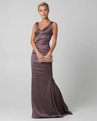 Le Château Satin V-Neck Pleated Gown