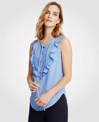Ann Taylor Tall Pintucked Ruffle Bib Shell