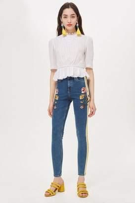 Topshop Mid Blue Embroidered Side Stripe Jamie Jeans