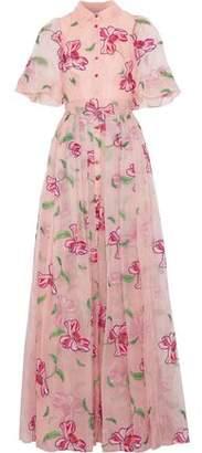 Carolina Herrera Tie-Back Embroidered Silk-Organza Gown